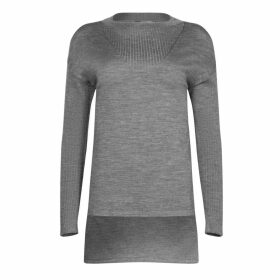 NY CHARISMA - Grey Ribbed Neck Trim High-Low Pullover