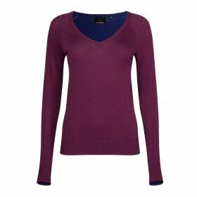 NY CHARISMA - Navy and Wine Color Block V Neck Sweater