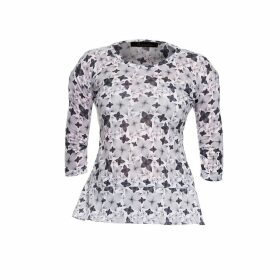 Philosofée by Glaucia Stanganelli - Charcoal Floral Print Back Pleat Modal T-shirt