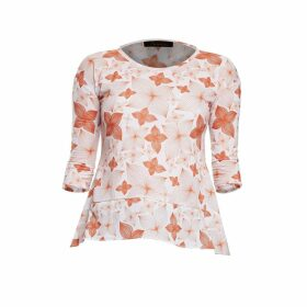 Philosofée by Glaucia Stanganelli - Burnt Orange Floral Print Back Pleat Modal T-Shirt