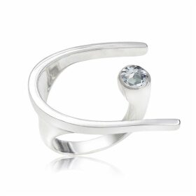 Neola - Lunaria Sterling Silver Cocktail Ring With Blue Topaz