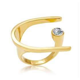 Neola - Lunaria Gold Cocktail Ring With Blue Topaz