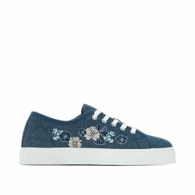 Denim Trainers with Embroidered Flowers