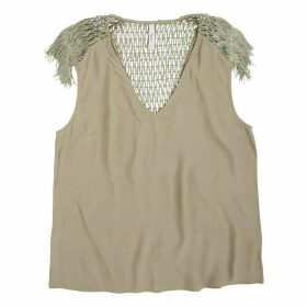 Short-Sleeved Blouse with Openwork Back
