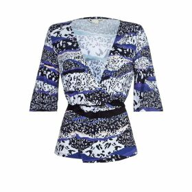 Printed Crossover Blouse with 3/4 Length Sleeves