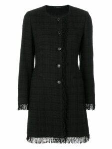 Tagliatore plaid fringed coat - N478
