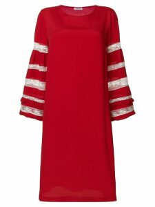 P.A.R.O.S.H. lace sleeves insert dress - Red