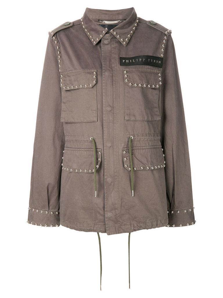 Philipp Plein studded cargo jacket - Green