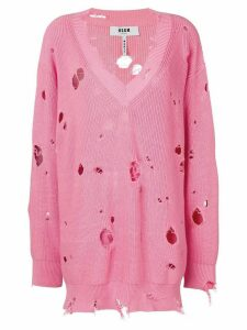 MSGM oversize holey knitted jumper - PINK