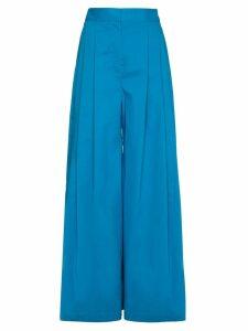 Vika Gazinskaya Silk Pleat Front Trousers - Blue