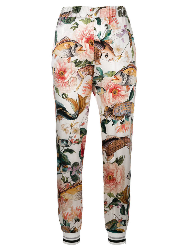 Shirtaporter floral fitted trousers - White
