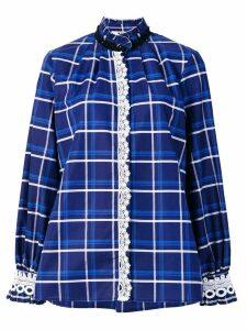 MSGM checked crochet trim blouse - Blue