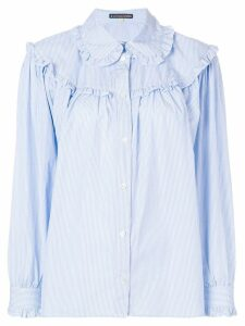 Alexa Chung ruffled stripe shirt - Blue