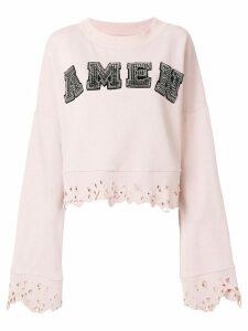 Amen studded logo sweatshirt with distressed edges - PINK