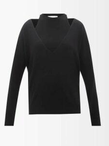 Alexander Mcqueen - Asymmetric Ruffle Trimmed Silk Crepe Blouse - Womens - Ivory