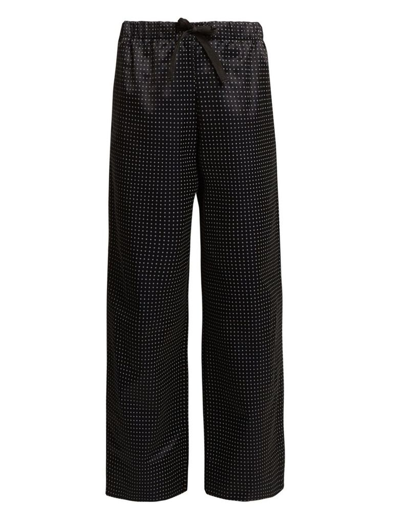 Lucy wide-leg dot-print cotton-blend trousers