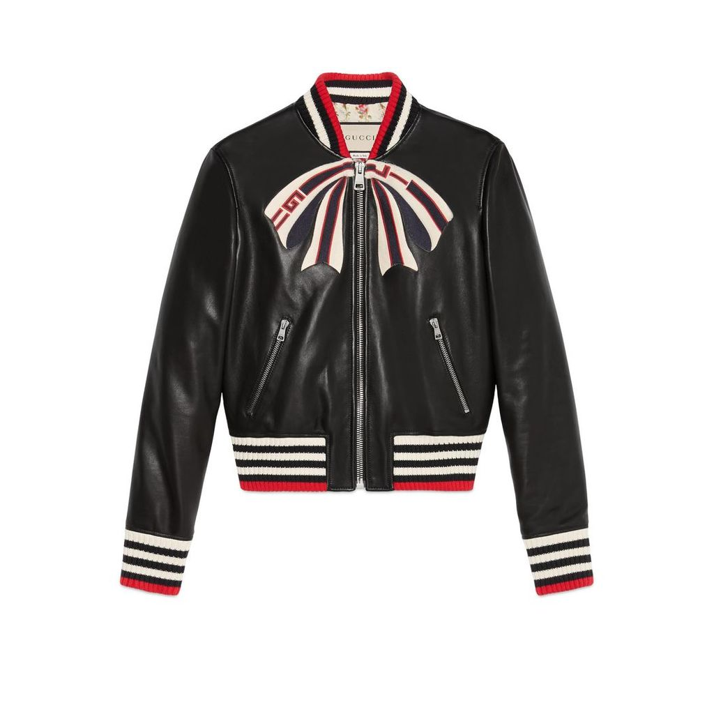Leather bomber jacket with Gucci bow