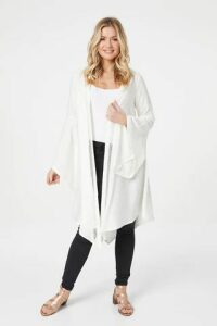 Cut-Out Trim Longline Cardigan