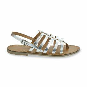 Herilo Metallic Leather Flat Sandals with Cross-Strap