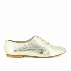 Gold Leather Lace-Up Brogues