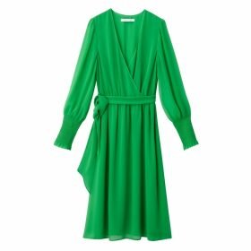 Wrapover Dress with Smocked Mesh Sleeves