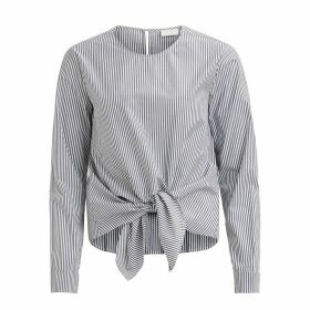 Tie Waist Striped Cotton Blouse