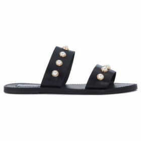 Steve Madden  Jole black leather sandal with pearls  women's Sandals in Black