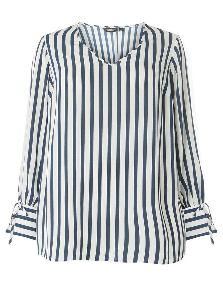 Womens **DP Curve Blue Striped Tie Cuff Blouse- Blue, Blue