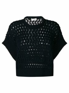 Zanone cropped perforated jumper - Blue
