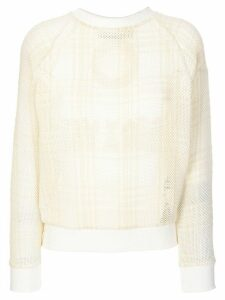 Mr & Mrs Italy embroidered tartan mesh sweatshirt - NEUTRALS