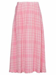 Rosie Assoulin Checked Voile Midi Skirt - PINK