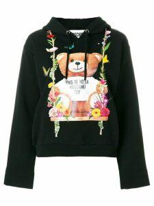 Moschino floral teddy bear motif hoodie - Black