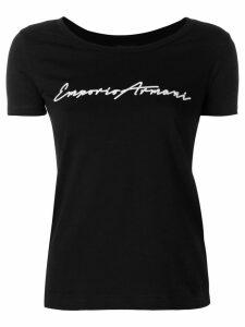 Emporio Armani cropped logo T-shirt - Black
