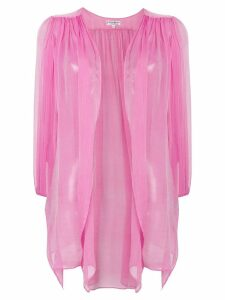 Yves Saint Laurent Pre-Owned gathered sheer open blouse - Pink