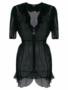 Chanel Pre-Owned sheer ruffled blouse - Black