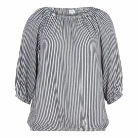 Striped Round Neck Blouse with 3/4 Length Sleeves