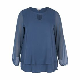 Plain Long-Sleeved Round Neck Blouse