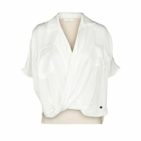 Short-Sleeved Wrapover Blouse
