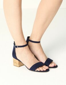 M&S Collection Wide Fit Block Heel Two Part Sandals