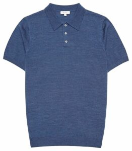 Reiss Manor - Merino Wool Polo Shirt in Indigo, Mens, Size XXL