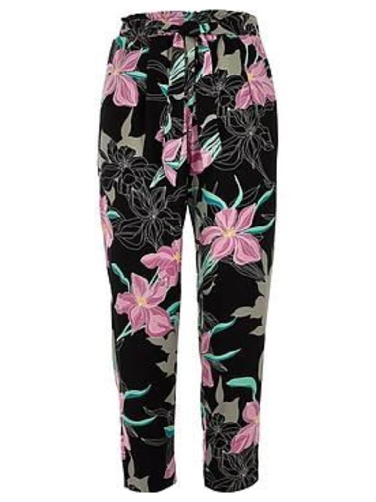 RI Petite Floral Tie Waist Tapered Trousers - Black, Black, Size 10, Women