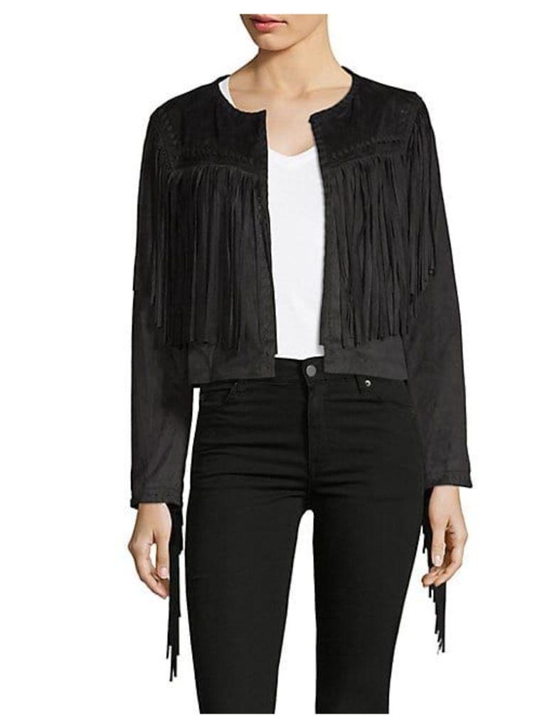 Fringed Open-Front Jacket
