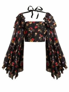 Rodarte - Square Neck Floral Print Silk Blend Blouse - Womens - Black Multi