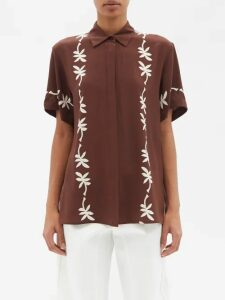 Rebecca Taylor - Cut-out Cotton And Linen-blend Dress - Womens - Red
