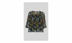 Habiba Iris Print Pleated Top