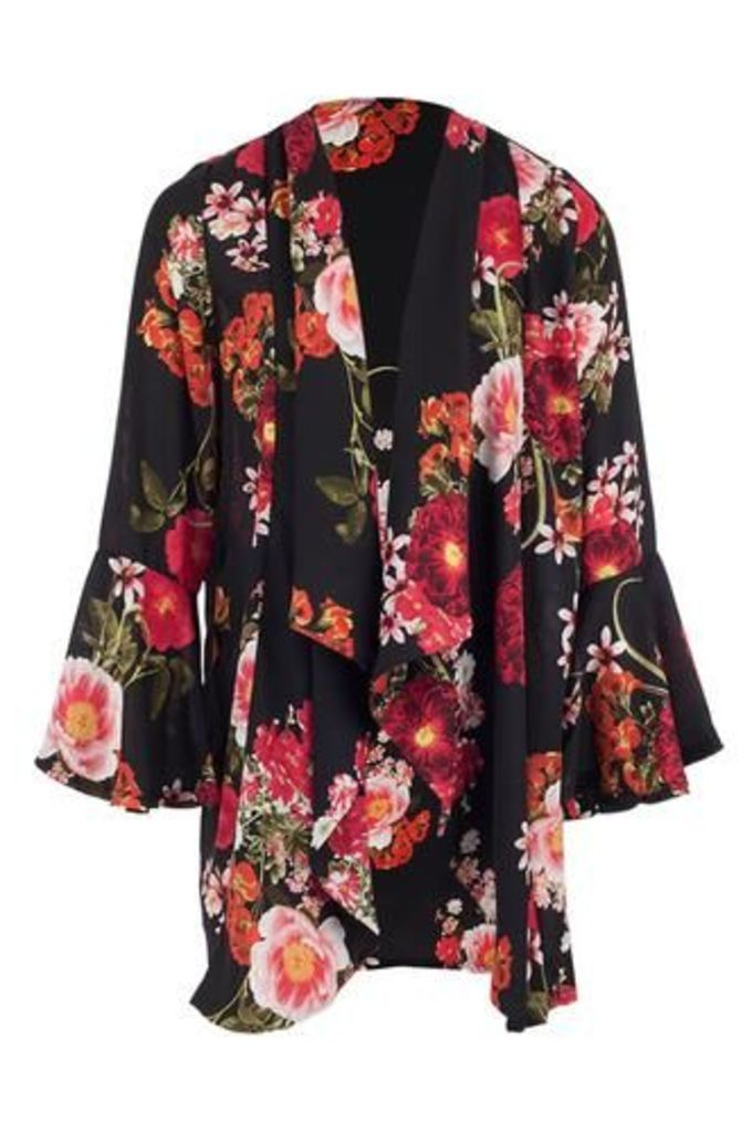 Floral Draped Cardigan