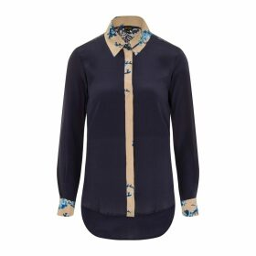 Sophie Cameron Davies - Midnight Blue Printed Classic Silk Shirt