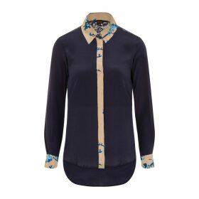 Sophie Cameron Davies - Midnight Blue Printed Classic Silk Shirt