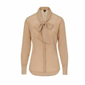 Sophie Cameron Davies - Beige Silk Bow Blouse