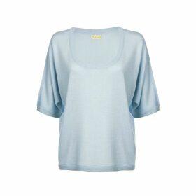 Asneh - Ballade Blue Gretha Batwing Top In Silk Cashmere
